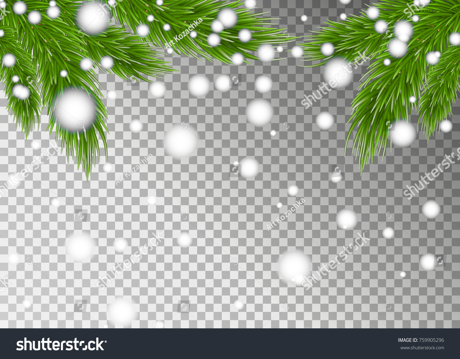 christmas tree branches on transparent background christmas background happy new year background with fir