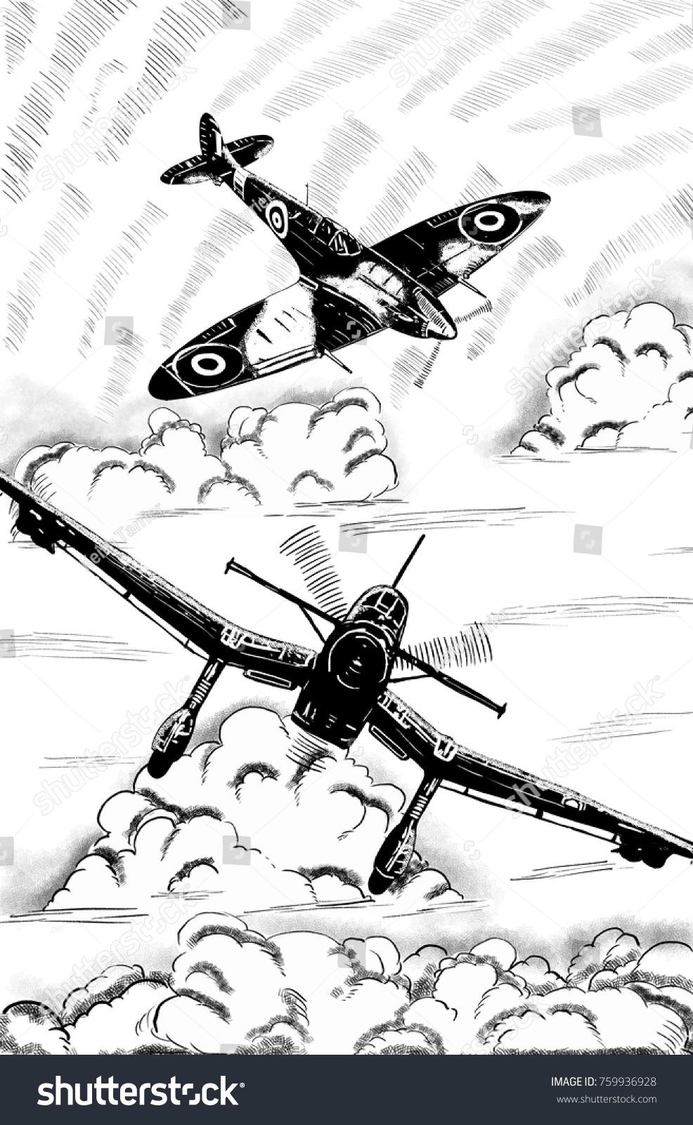 Original Digital Sketch World War 2 Stock Illustration 759936928