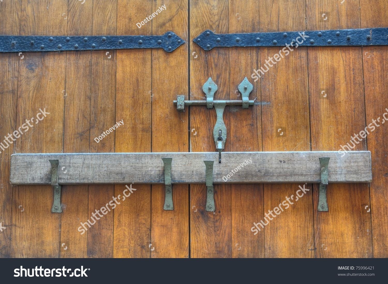 Closed Medieval Wooden Door Stock Photo 75996421