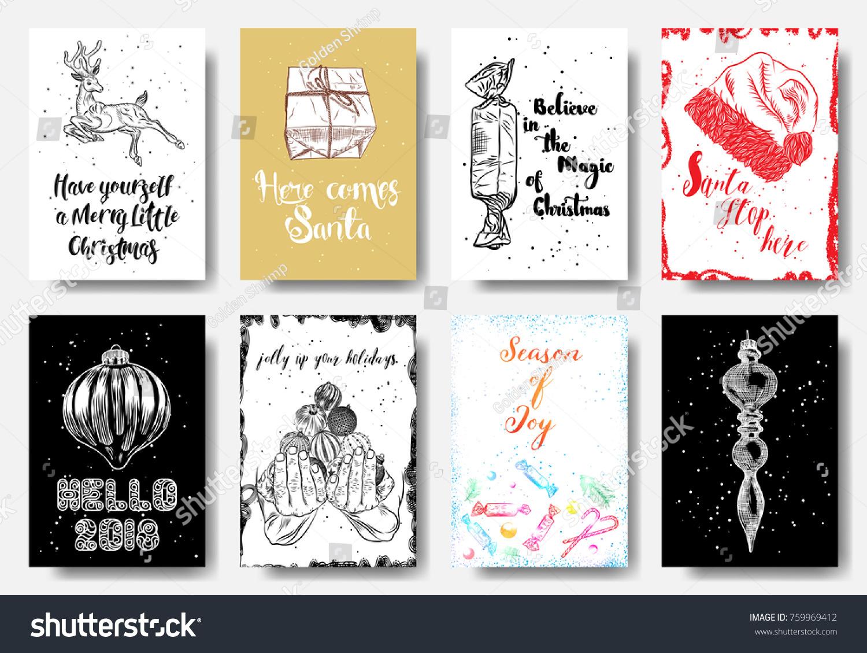 Set 8 Creative Holiday Cards Christmas Stock Vector (Royalty Free ...