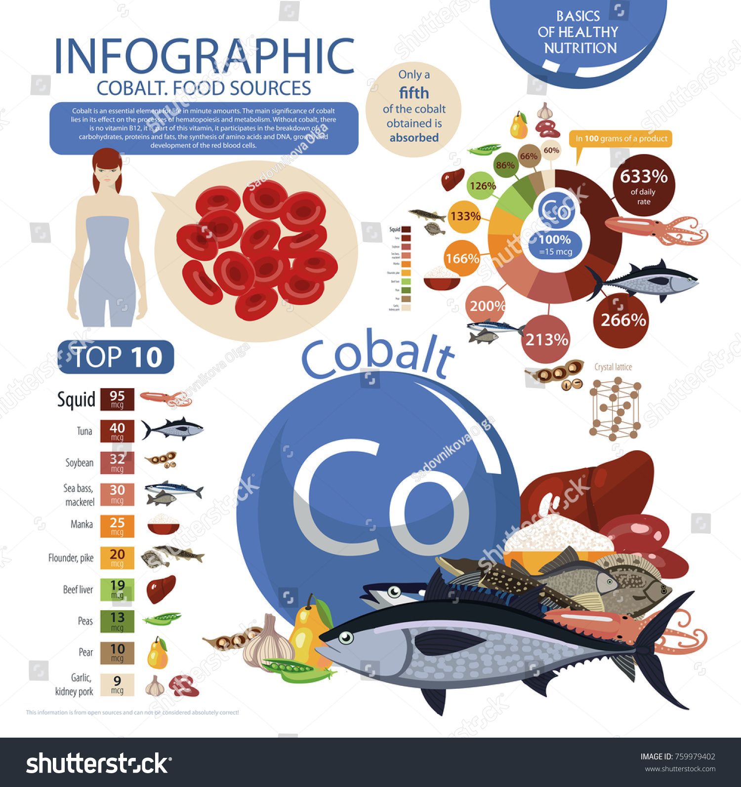Infographics cobalt food sources foods maximum stock vector food sources foods with the maximum cobalt content pie nvjuhfo Image collections
