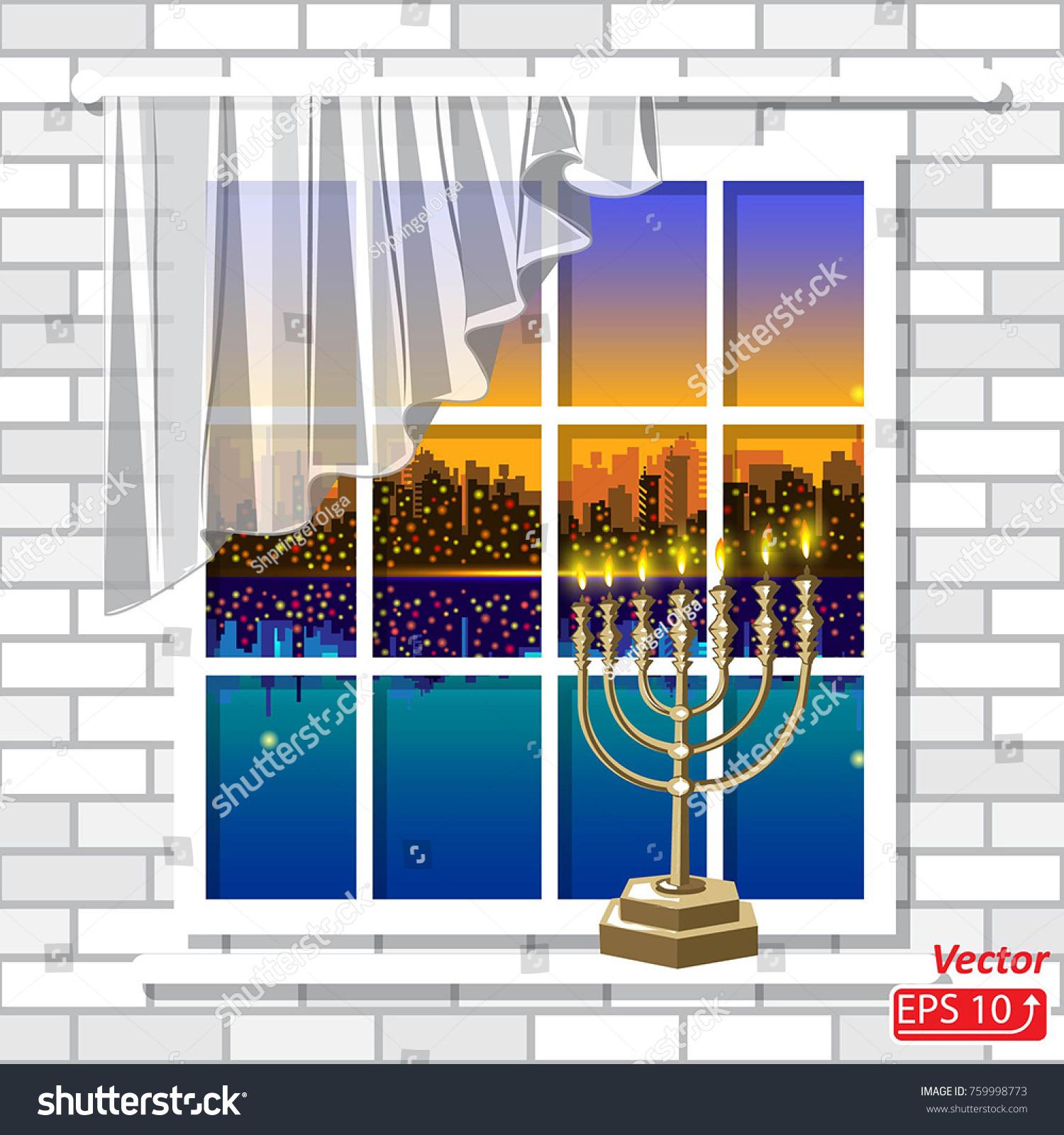 Happy Hanukkah Menorah By Window Night Stock Vector 759998773