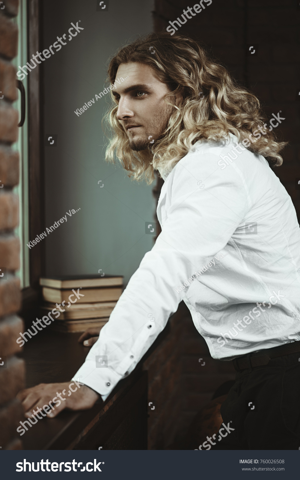 Handsome Man White Shirt Long Curly Stock Photo (Royalty Free ...