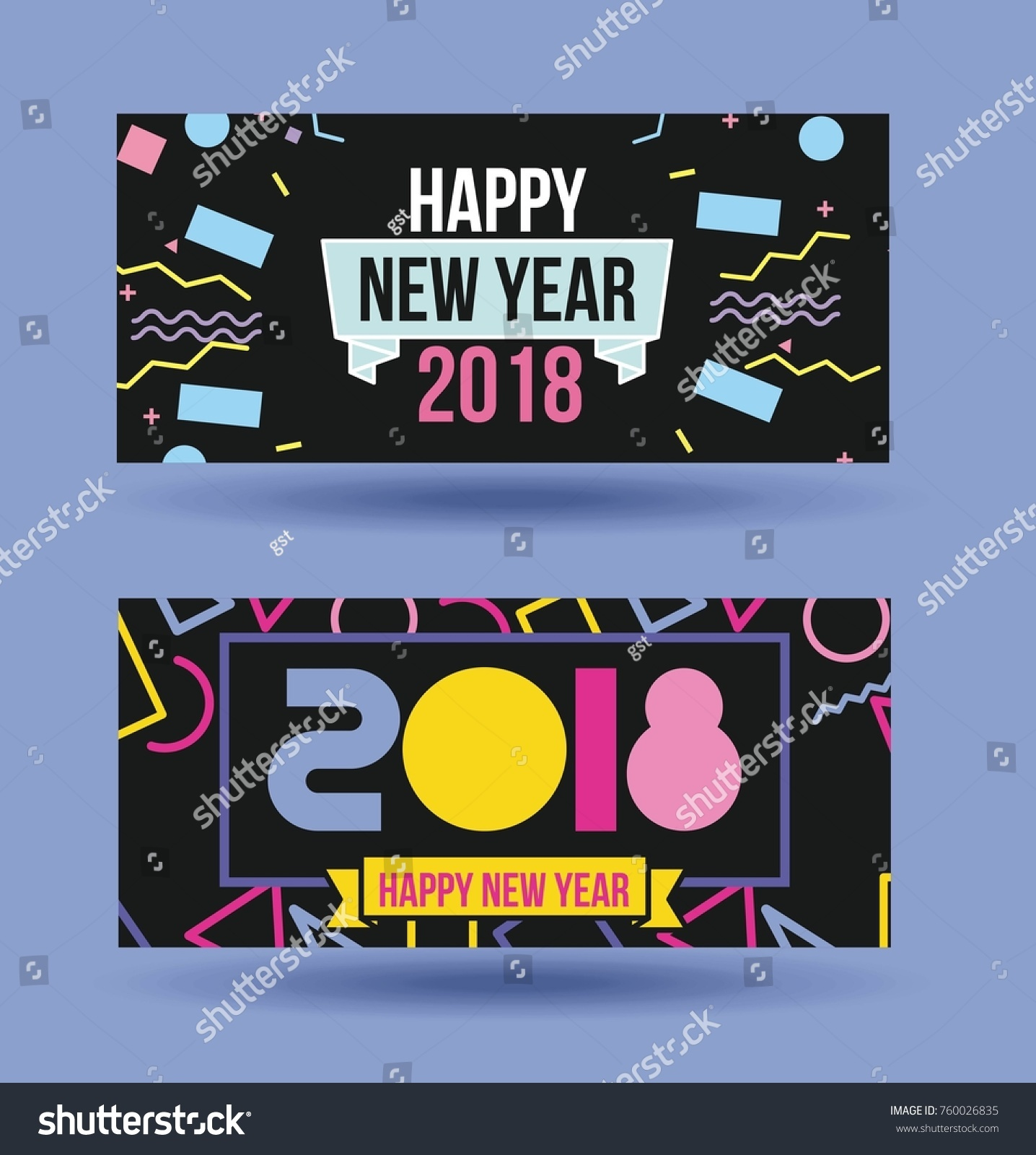 happy new year 2018 card greeting stock vector 760026835