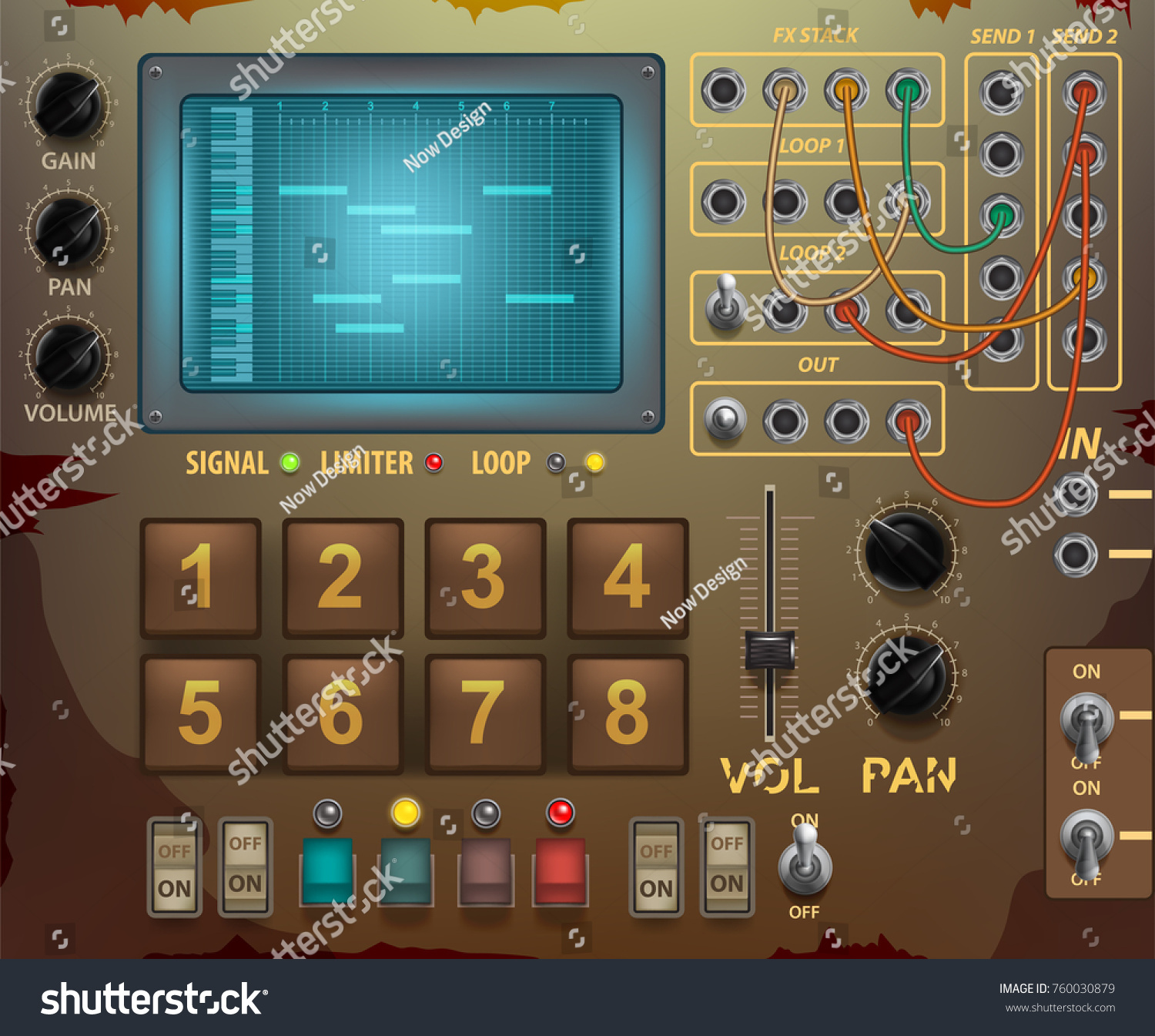 Old Appliance Retro Control Panel Various Stock Vector 760030879 ...
