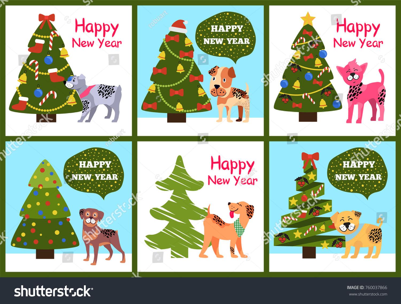 Happy New Year Greetings Cartoon Dogs Stock Vector 760037866