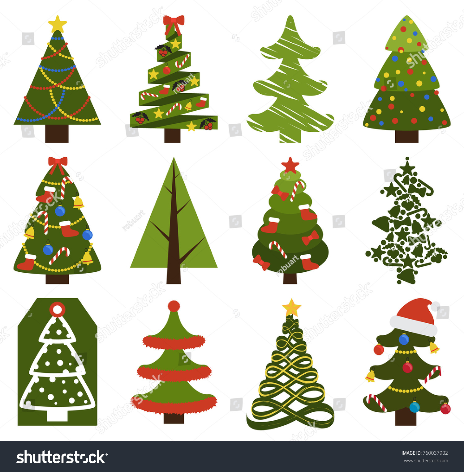 Big set christmas tree symbols without stock vector 760037902 big set of christmas tree symbols with or without decorative elements abstract spruces with garlands biocorpaavc Image collections