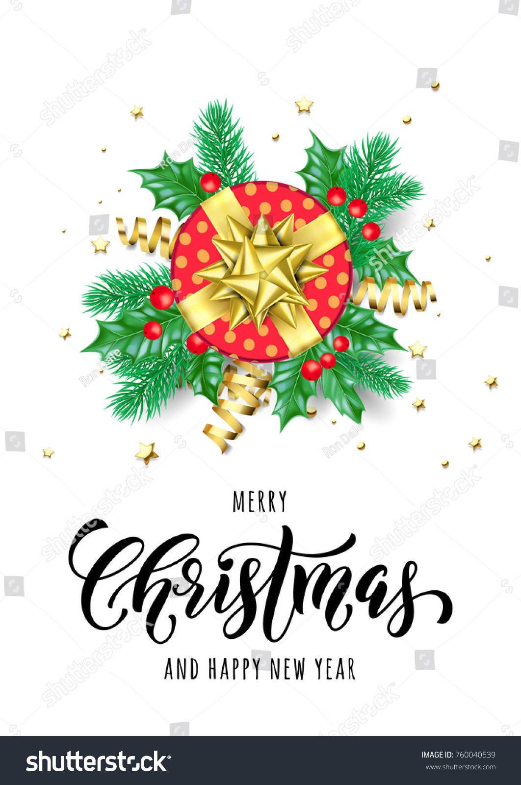 Merry Christmas And Happy New Year Hand Drawn Quote Calligraphy For
