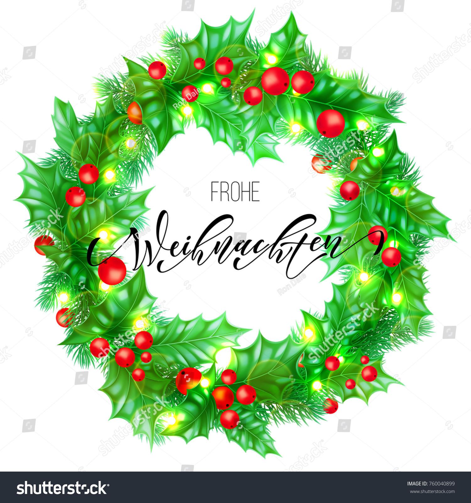 Frohe Weihnachten German Merry Christmas Hand Drawn Quote