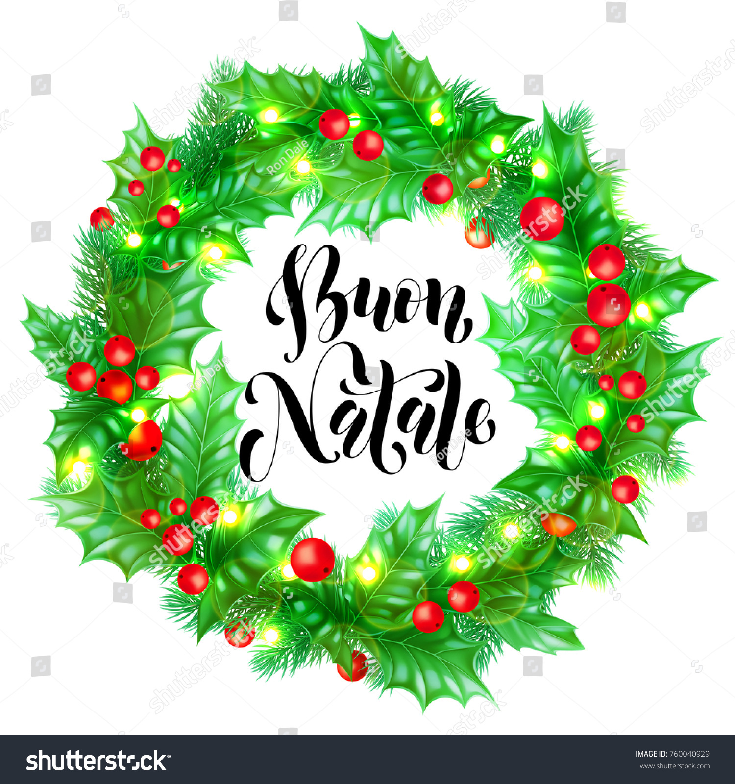 Buon natale italian merry christmas holiday stock vector royalty buon natale italian merry christmas holiday hand drawn calligraphy text for greeting card of wreath decoration m4hsunfo