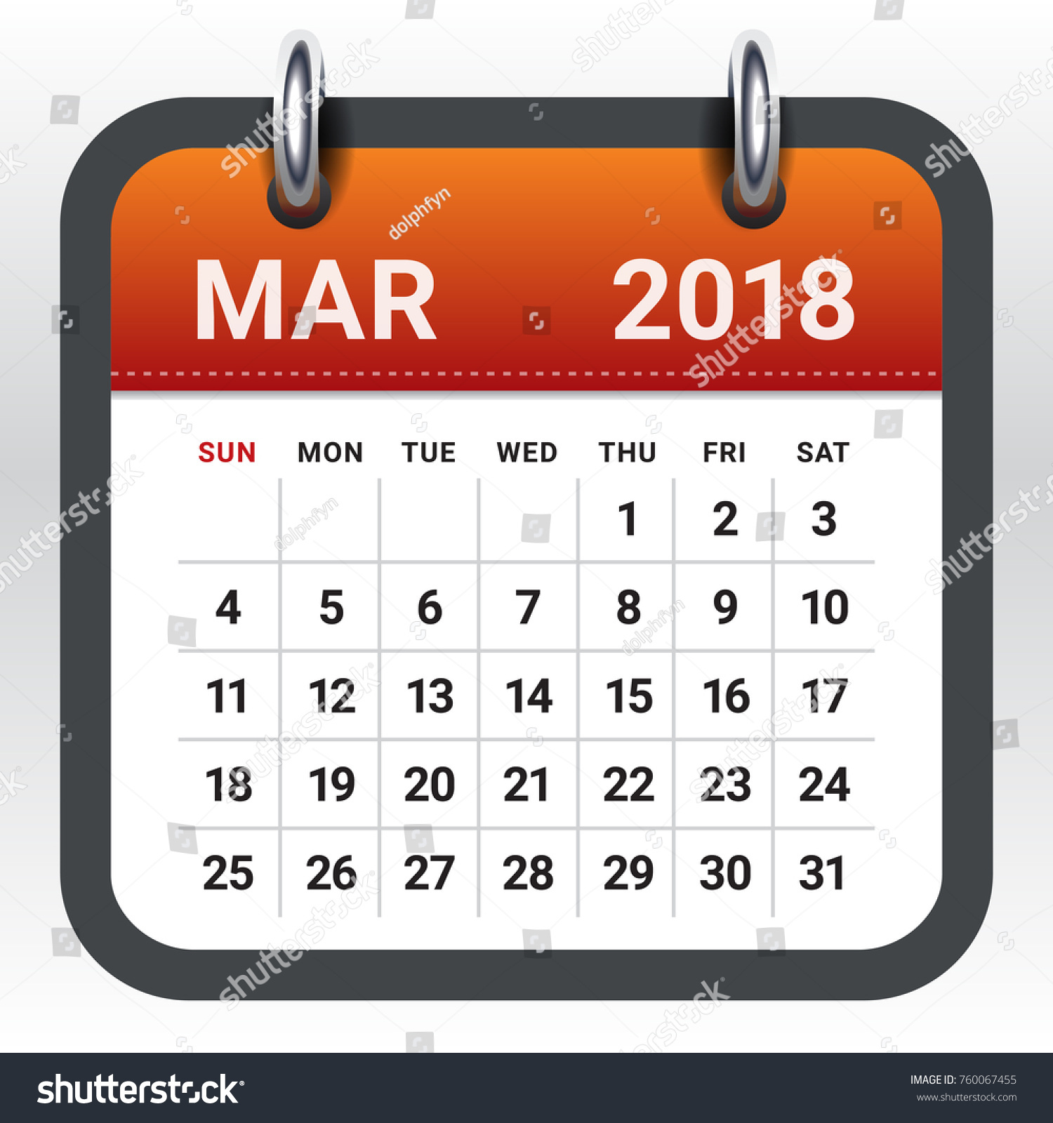 march 2018 calendar vector illustration simple and clean design