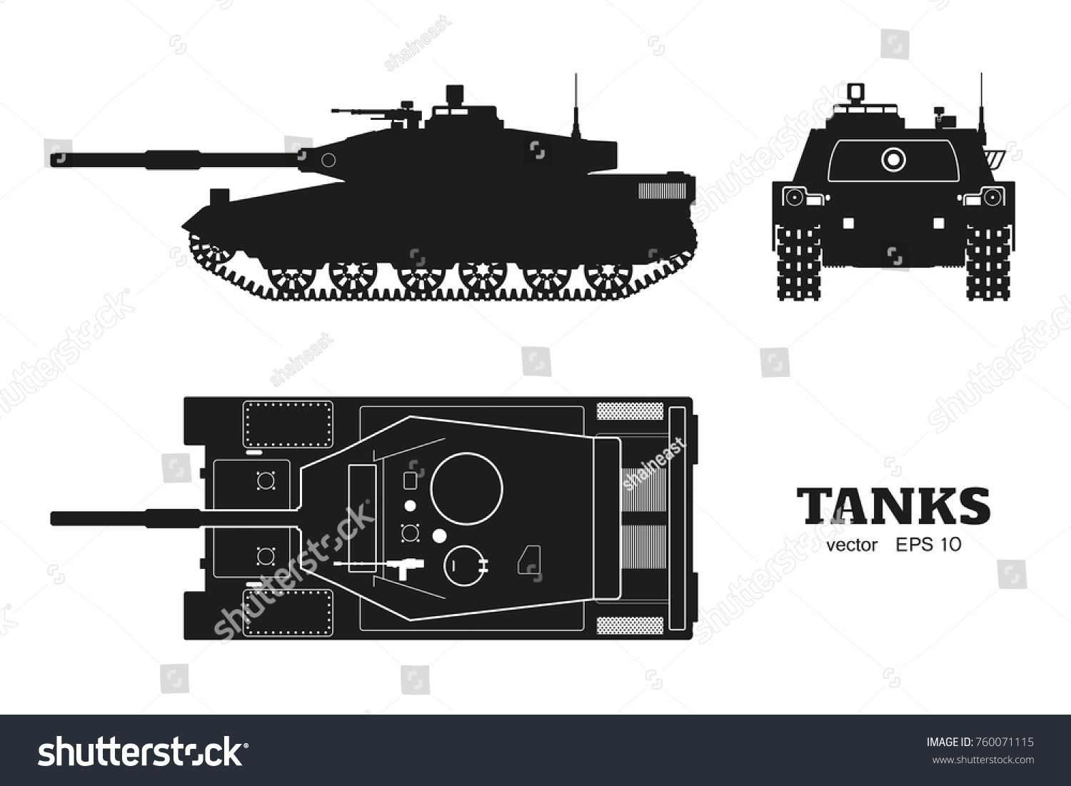 543b4c1dc0824 Silhouette of realistic tank blueprint. Armored car on white background. Top