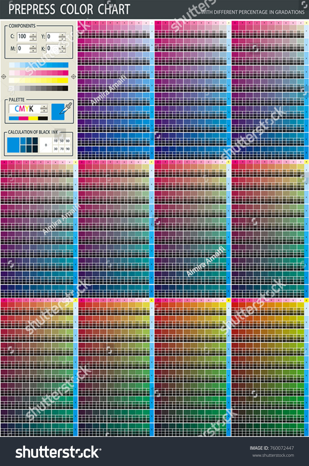 Color Print Test Page Prepress Cmyk Stock Vector Royalty Free