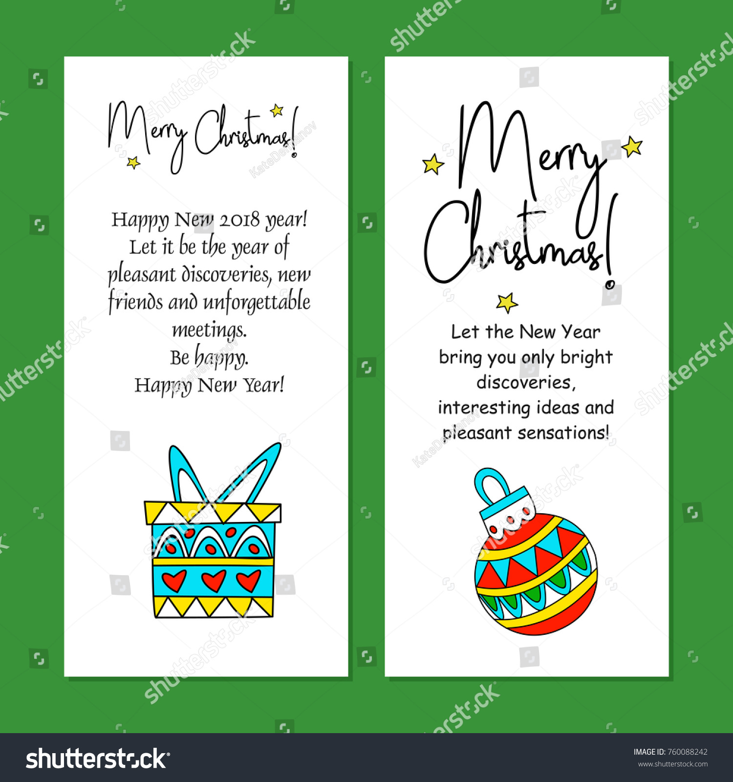Merry Christmas Set Greeting Cards Text Stock Vector 760088242