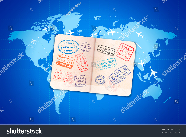 open foreign passport international visa stamps stock vector 760103035 shutterstock