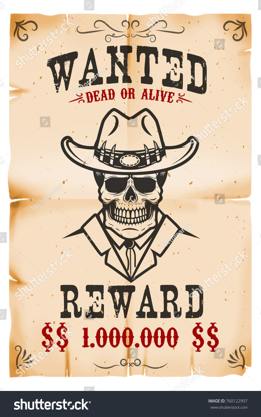vintage wanted poster template old paper のベクター画像素材
