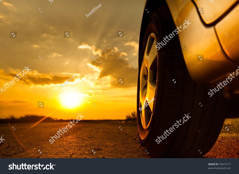Close Shot Car Against Sunset Background Stock Photo ...