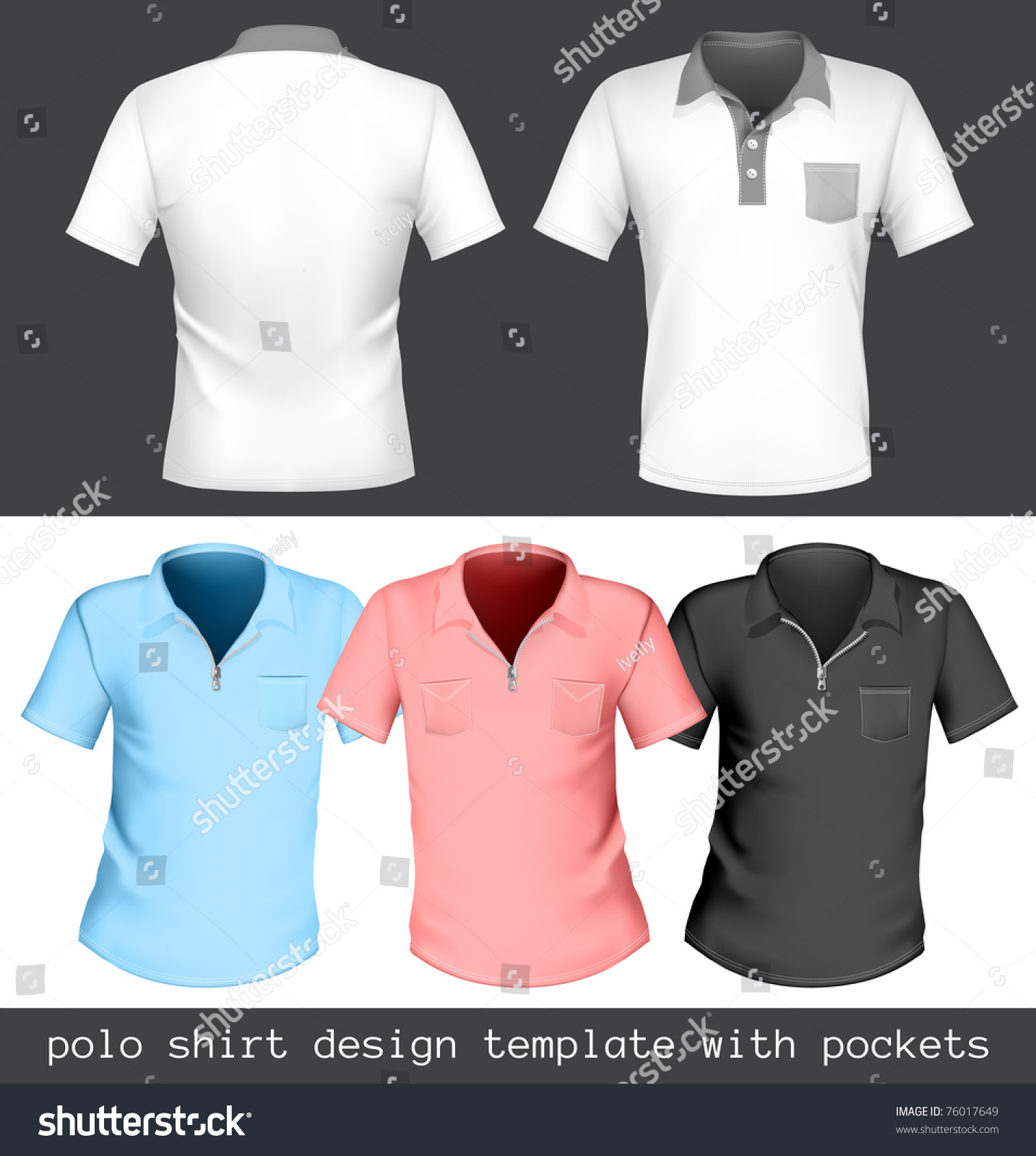 Vector Polo Shirt Design Template Pockets Stock Vector Royalty Free