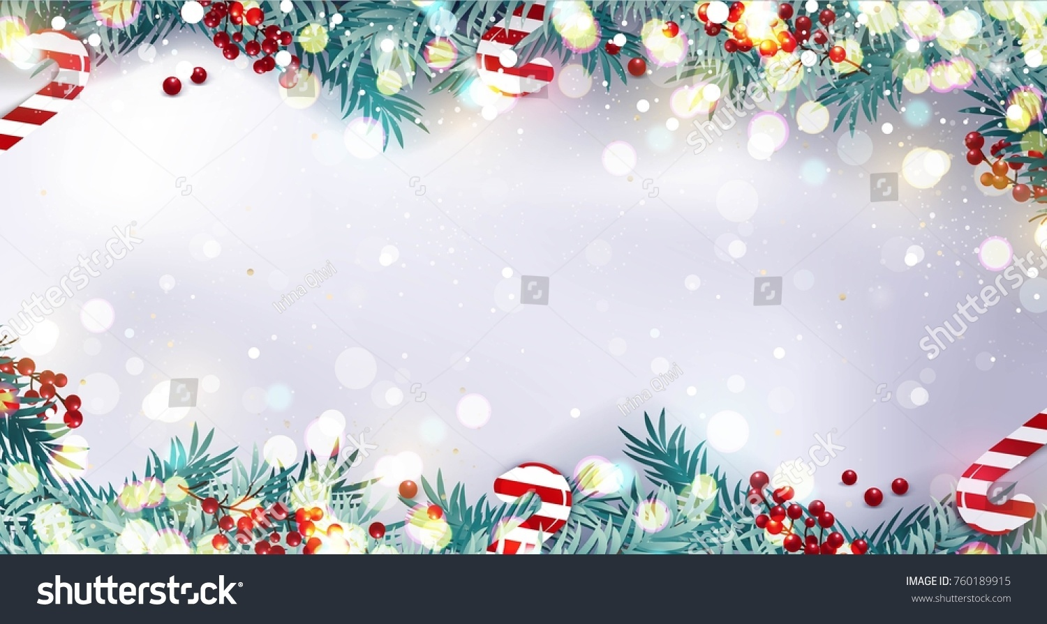 Christmas border or frame with fir branches, berries and candy isolated on snowy background. Vector illustration #760189915