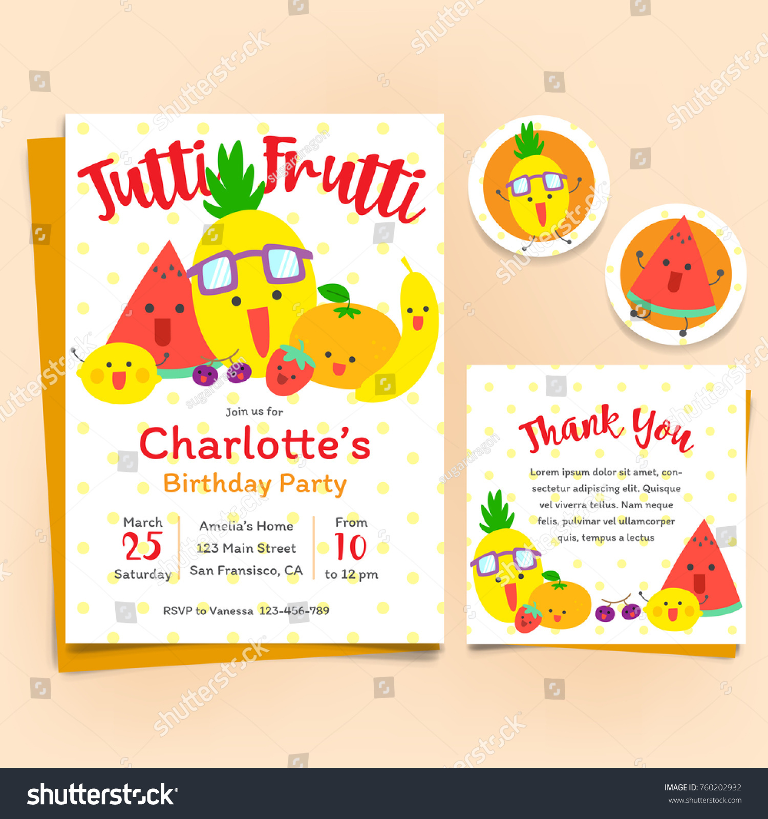 Fruits theme birthday invitation set tutti stock vector 760202932 fruits theme birthday invitation set tutti frutti theme stopboris Gallery