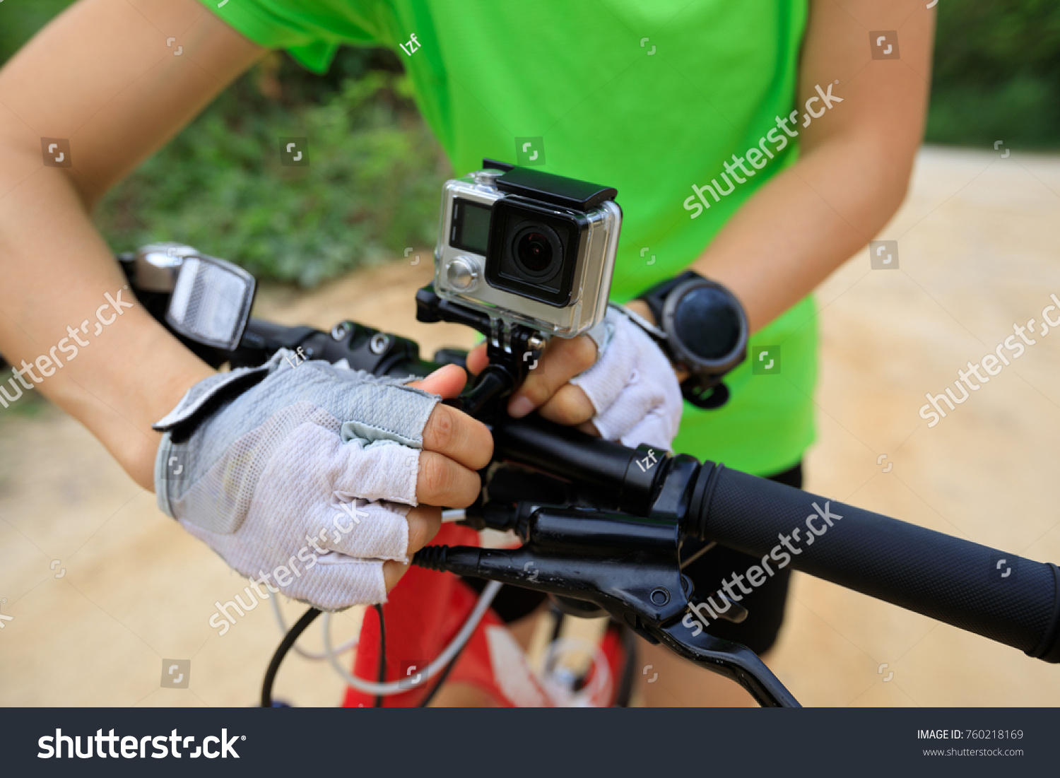 Action Camera Mounted On Mountain Bike Stock Photo 760218169