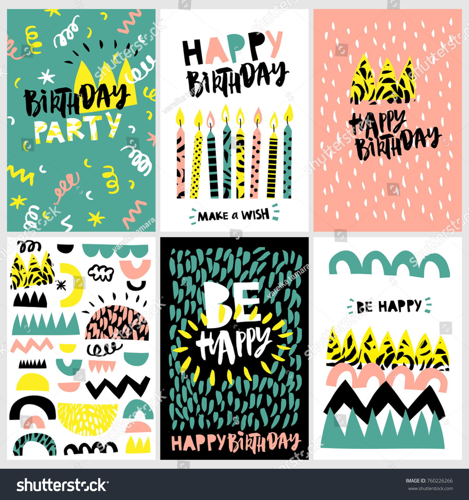 Be Happy Birthday Party Set Design Stock Vector