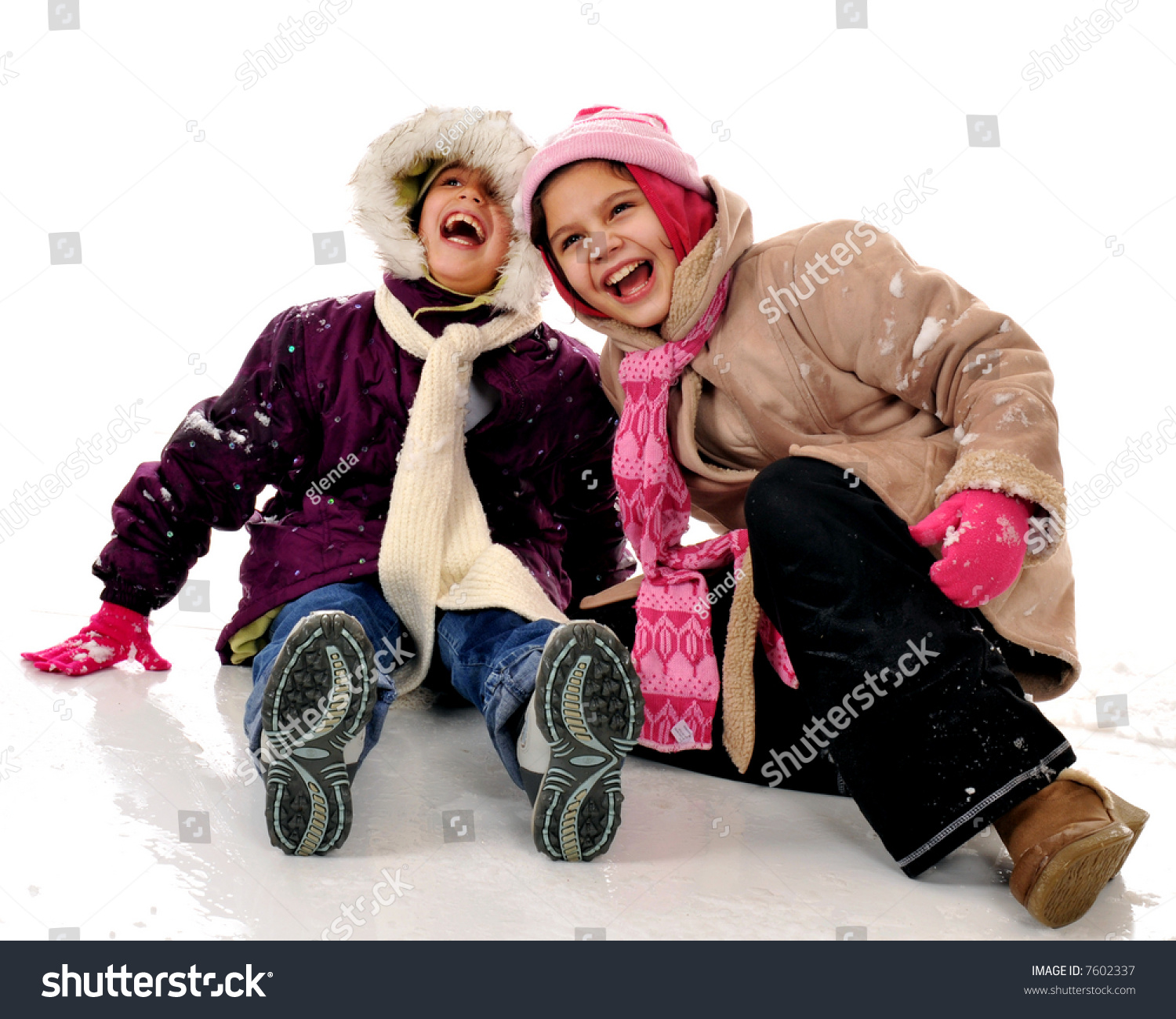 3cb861d7df Two Elementary Girls Dressed Warm Winter Stock Photo (Edit Now ...