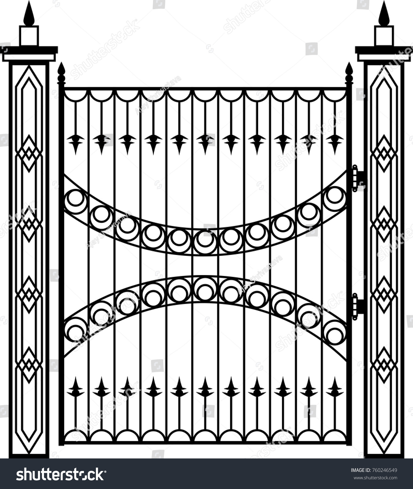 Wrought Iron Gate Ornamental Design Vector Stock Vector 760246549 ...