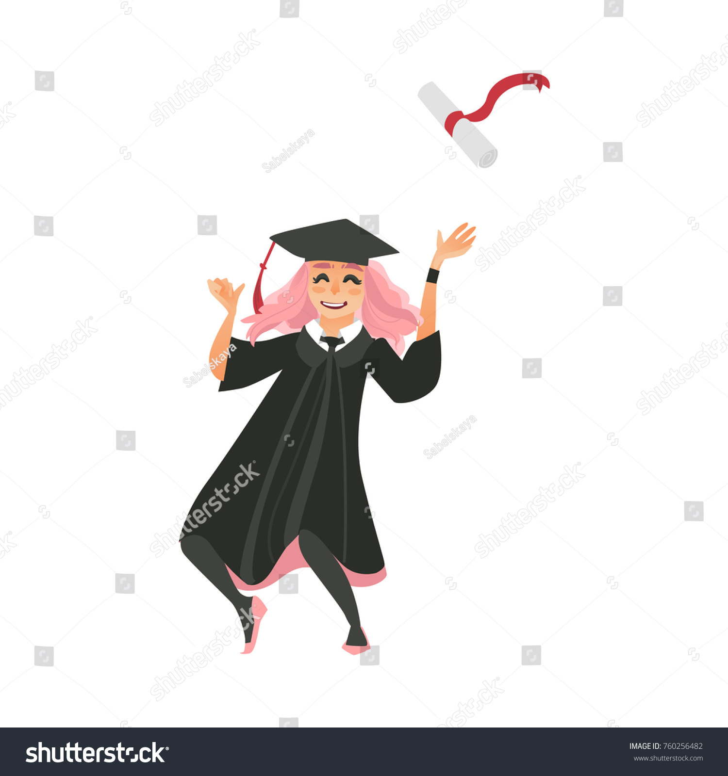 Girl Graduation Cap Gown Throwing Diploma Stock Vector 760256482 ...