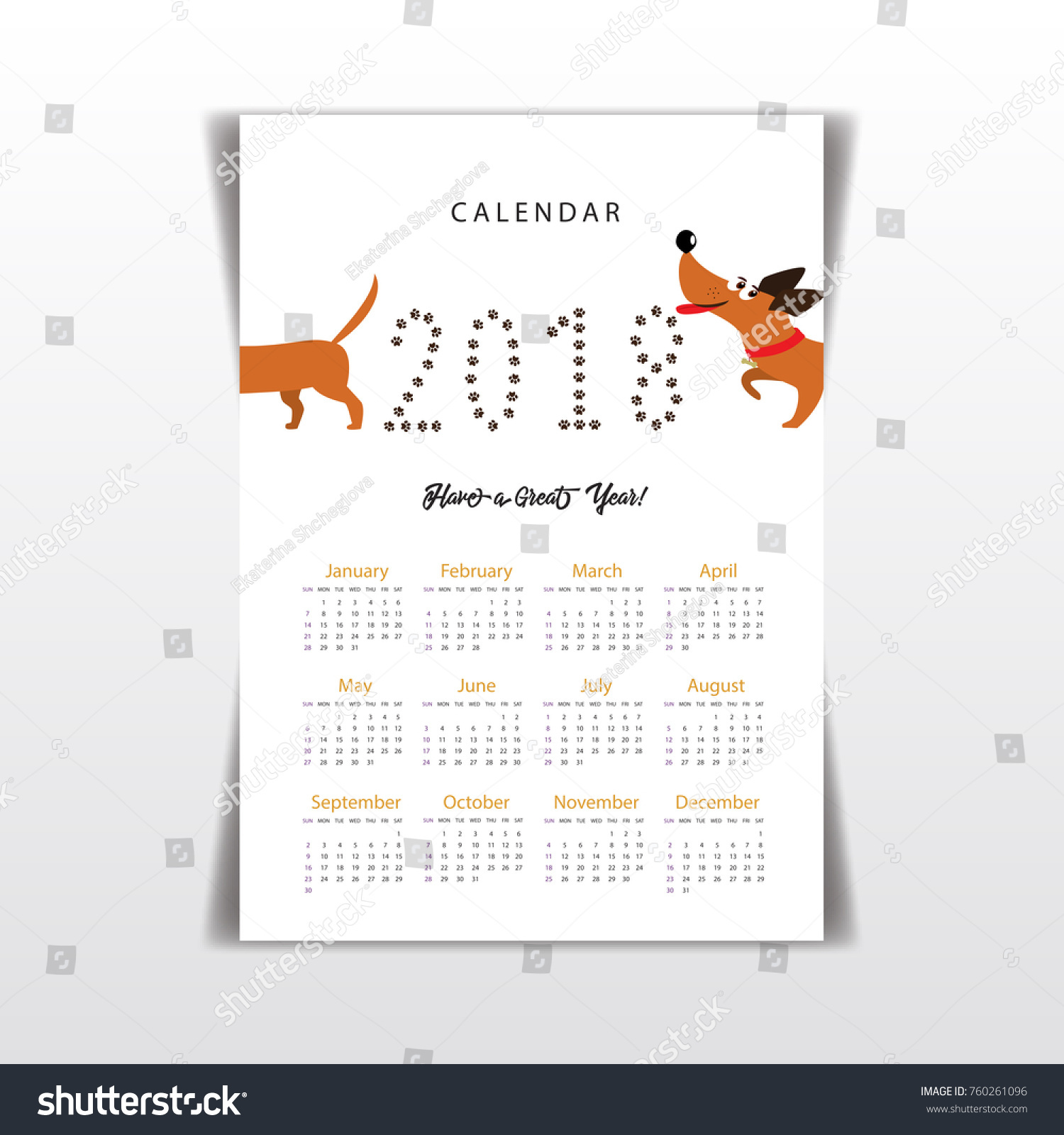 creative calendar 2018 cute cartoon dachshund stock vector
