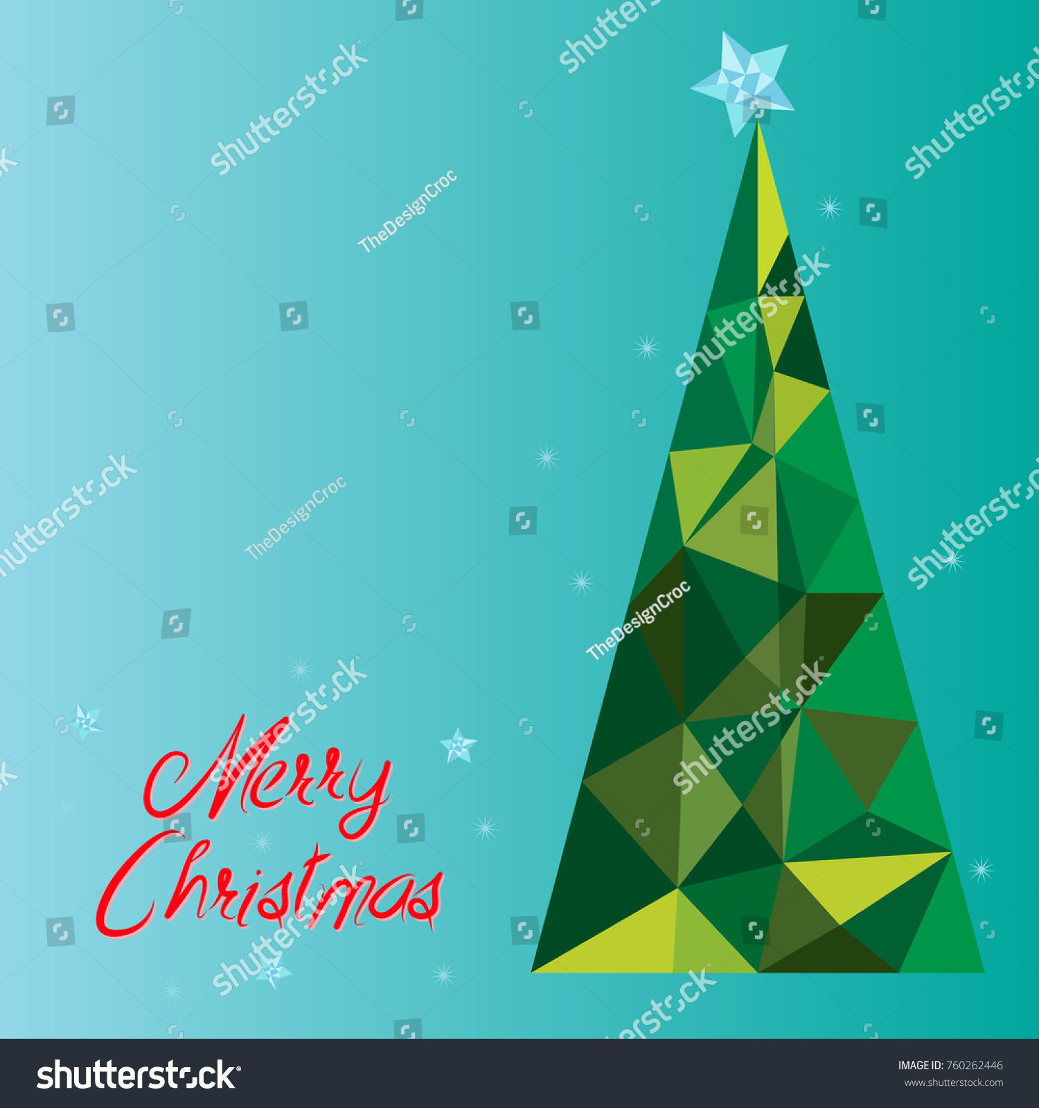 merry christmas card low poly tree stars on blue background ideal for festive winter - Polytree Christmas Tree