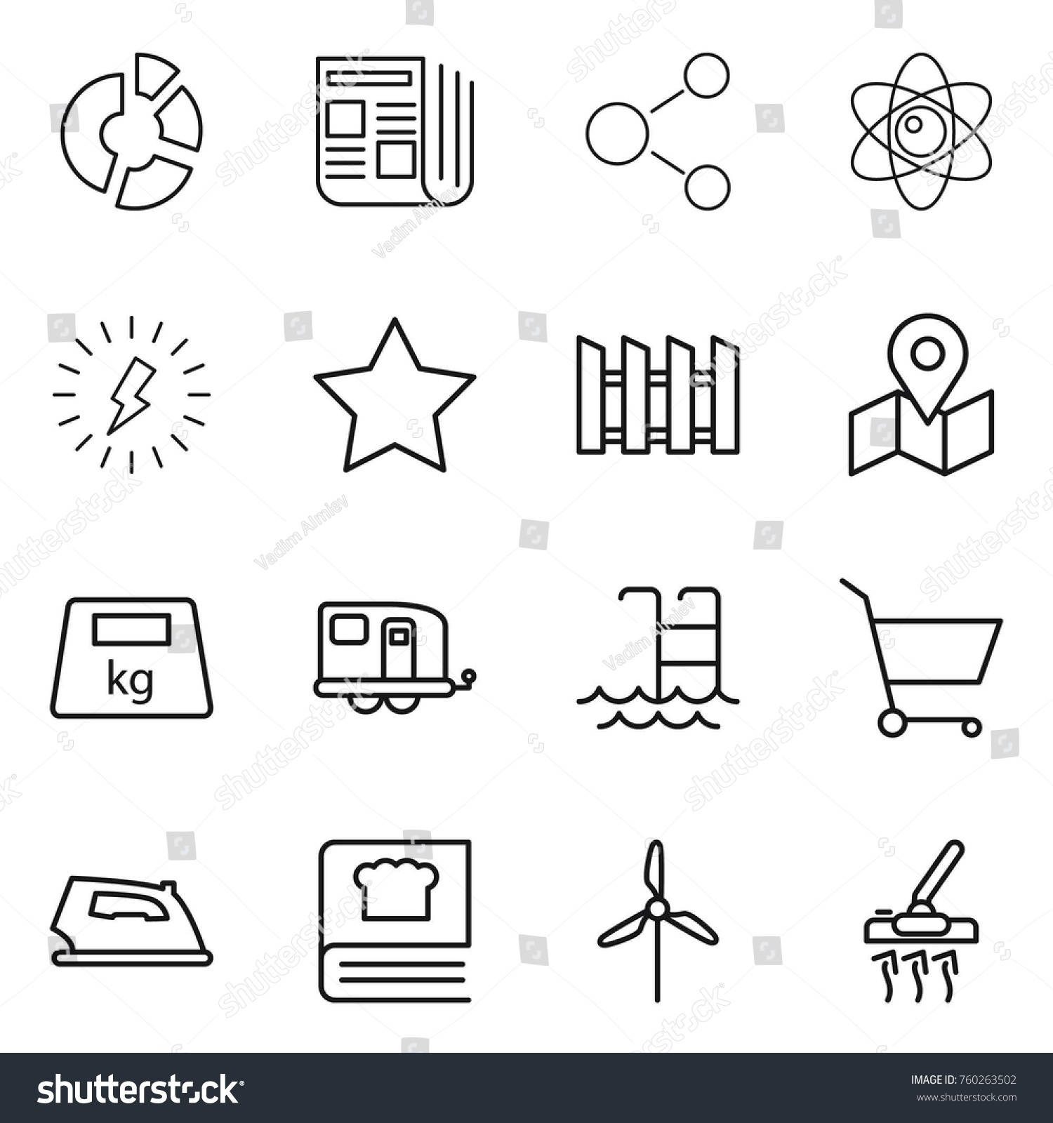 Thin Line Icon Set Circle Diagram Stock Vector Royalty Free Vacuum Cleaner Newspaper Molecule Atom Lightning
