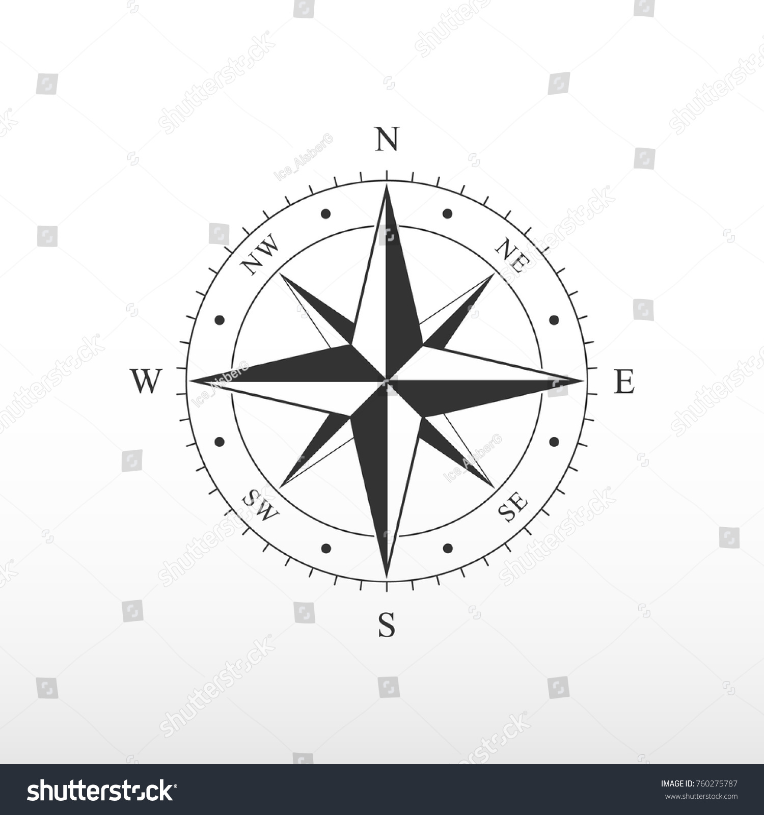 Nautical Compass Icon Pictograph Compass Side Stock Vector Royalty