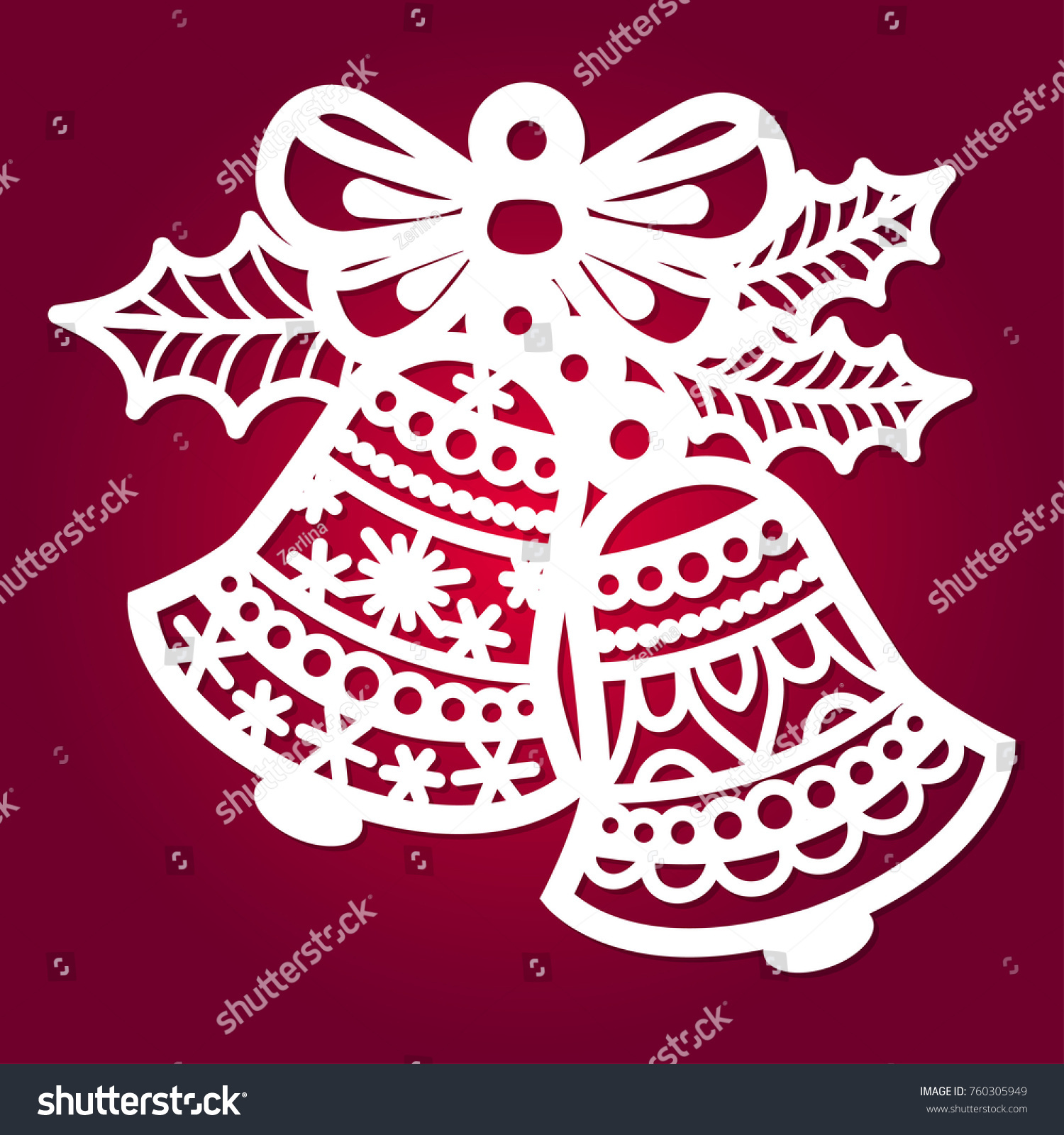 christmas bell holly template laser cutting のベクター画像素材