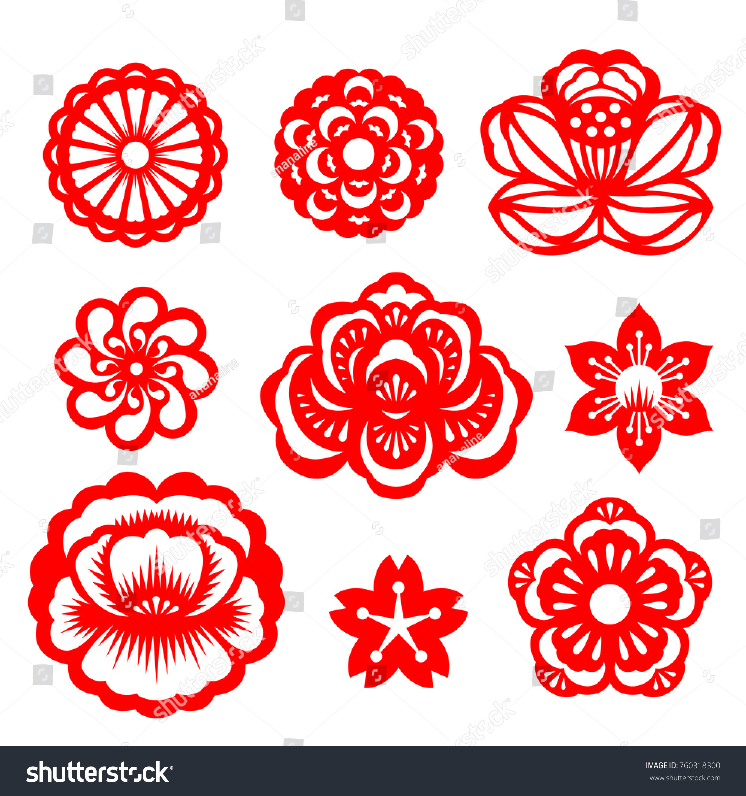 Red Paper Cut Flowers China Vector Stock Vector Royalty Free