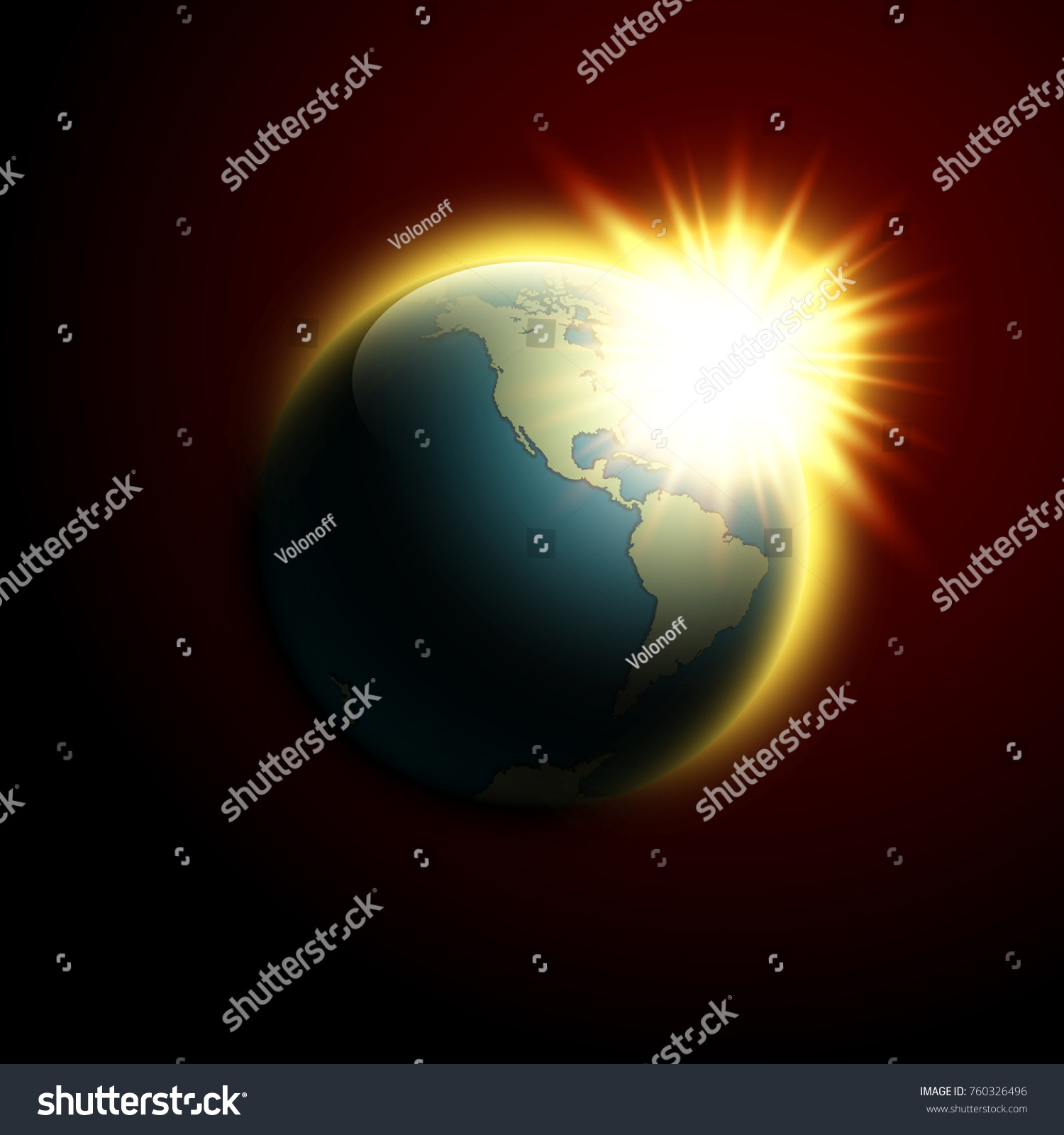 World map rising sun banner globe stock vector 760326496 world map rising sun banner globe icon in space sunlight poster planet earth on gumiabroncs Gallery