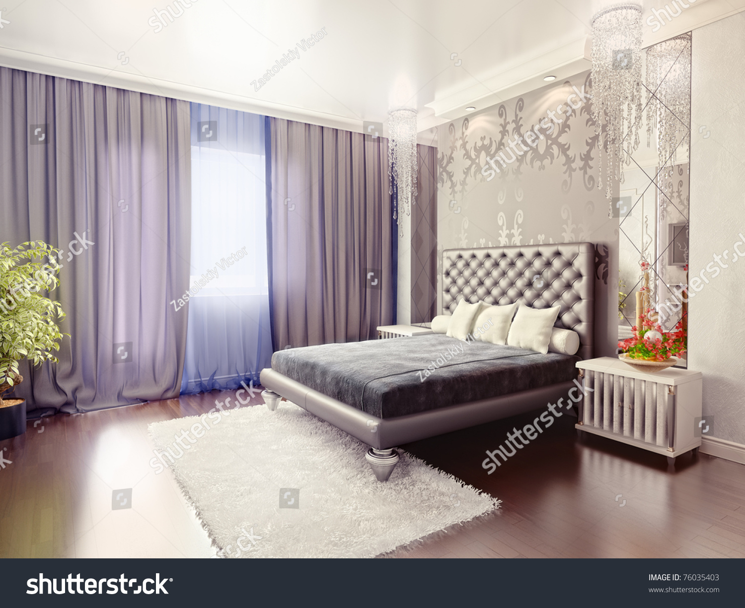 Luxury Bedroom Interior Modern Luxury Bedroom Interior 3d Rendering Stock Illustration