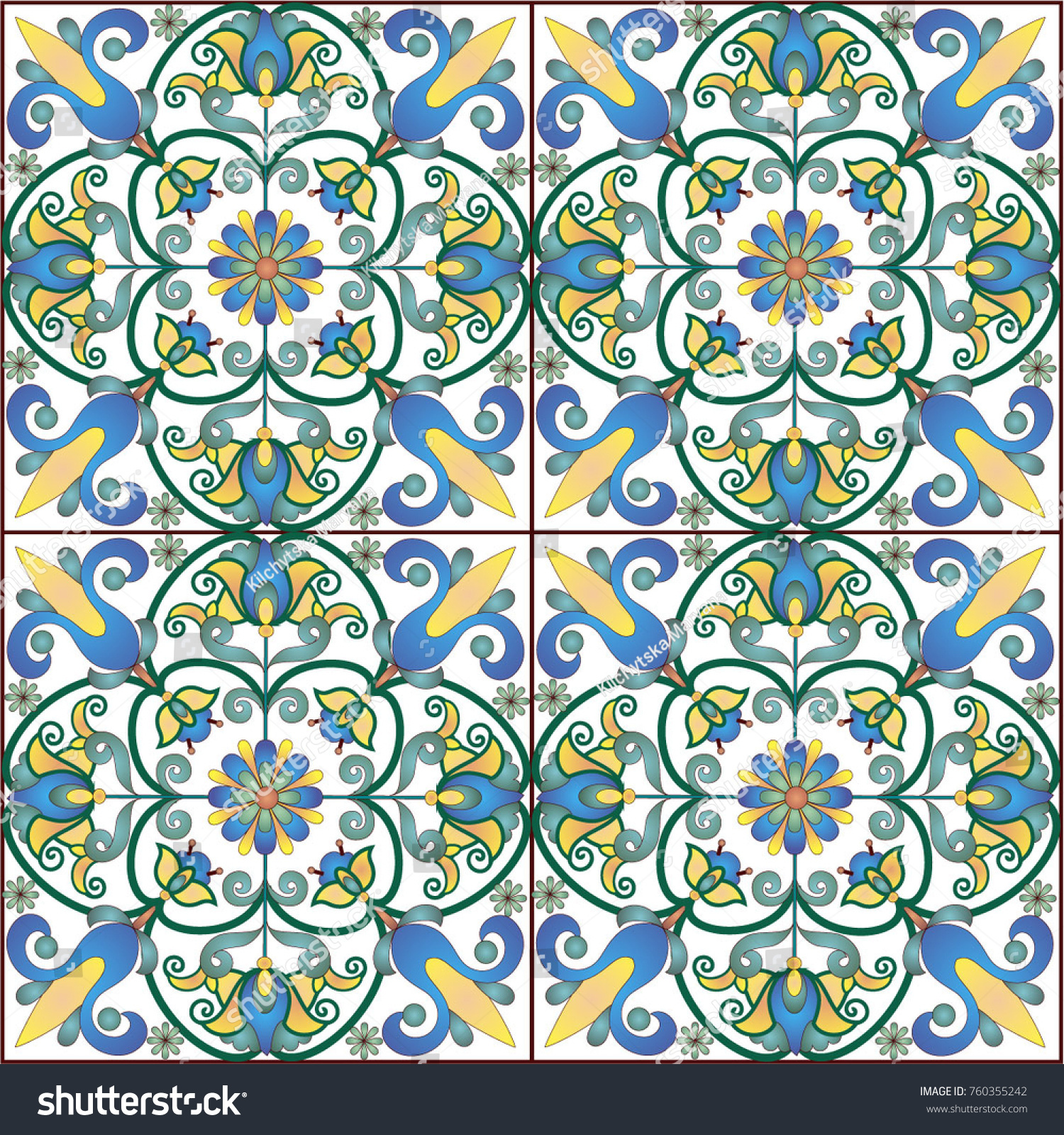 Old Ceramic Tile Wall Patterns Texture Stock Vector (Royalty Free ...