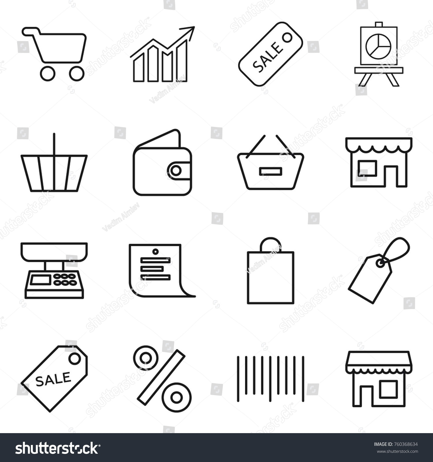 Thin Line Icon Set Cart Diagram Stock Vector Royalty Free Shopping Sale Presentation Basket Wallet