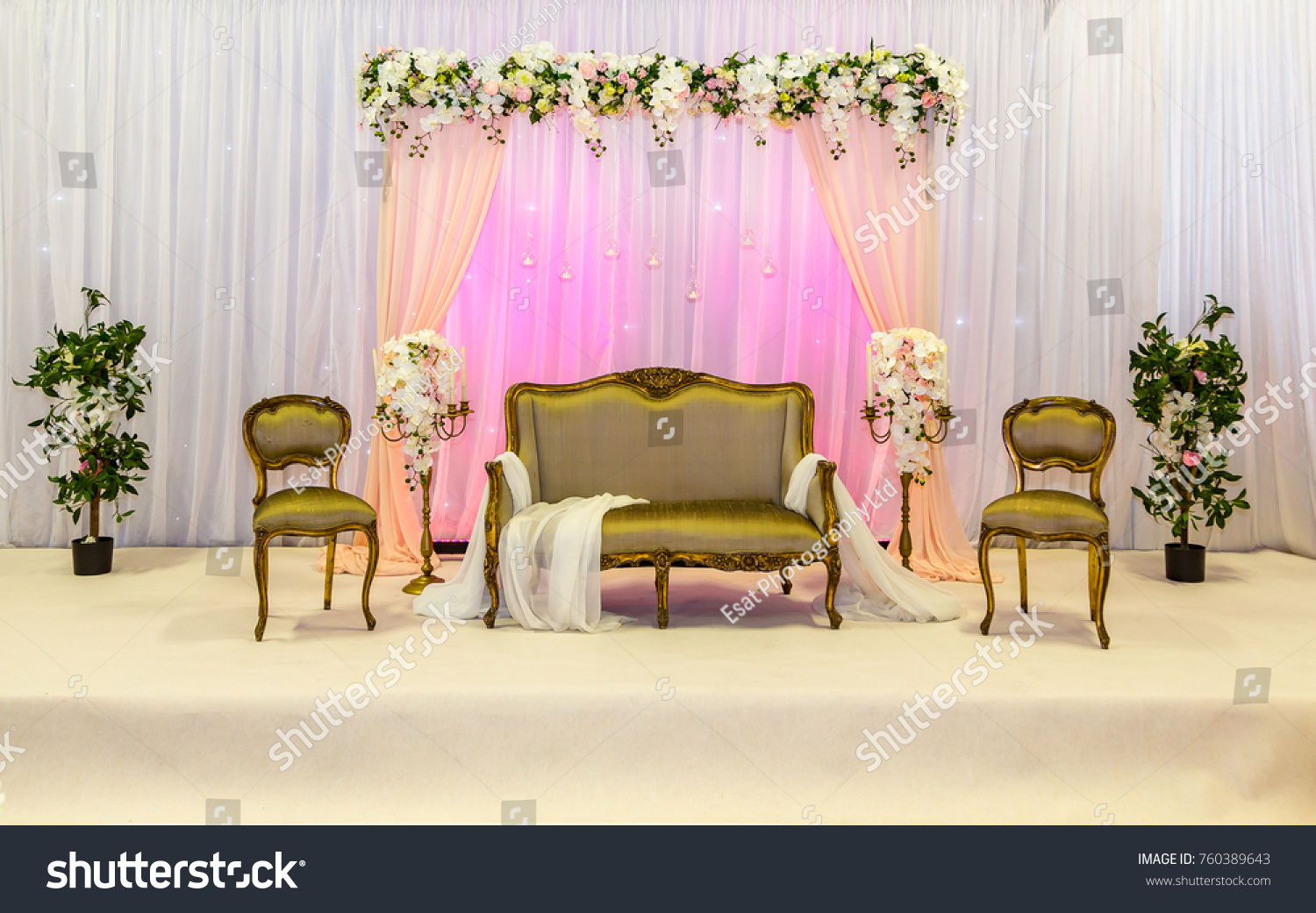 Gold Seated Wedding Stage Backdrop Stock Photo Edit Now 760389643