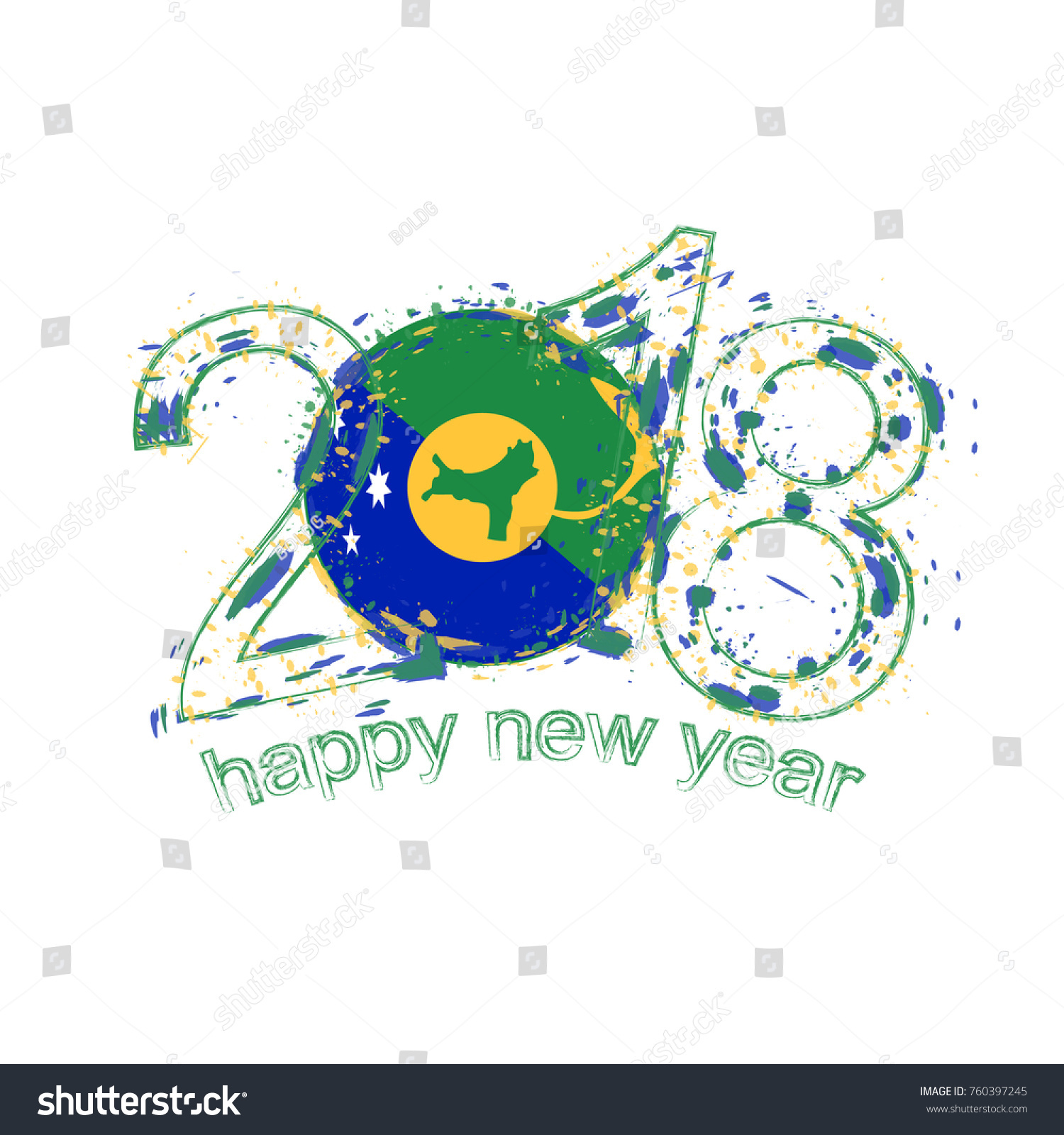 2018 happy new year christmas island stock vector 760397245 2018 happy new year christmas island grunge vector template for greeting card calendars 2018 kristyandbryce Gallery
