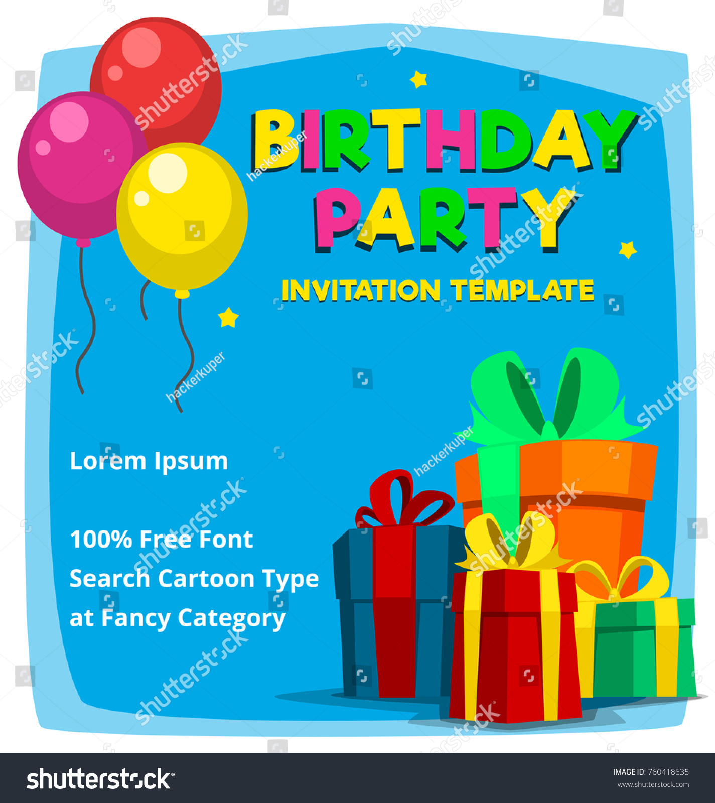 Vector Cartoon Birthday Party Invitation Card | Backgrounds ...