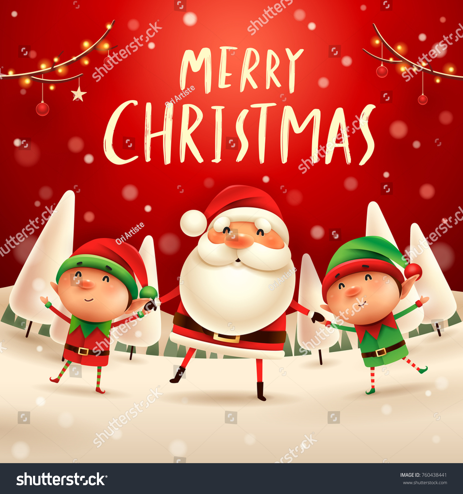 merry christmas santa claus and elves holding hands in christmas snow scene winter landscape - Merry Christmas Elf