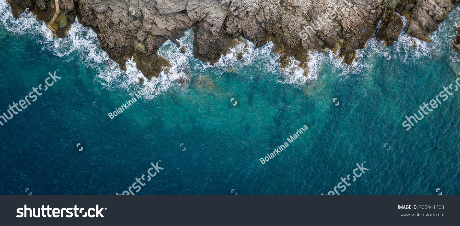 Aerial view of sea waves and fantastic Rocky coast, Montenegro #760441468