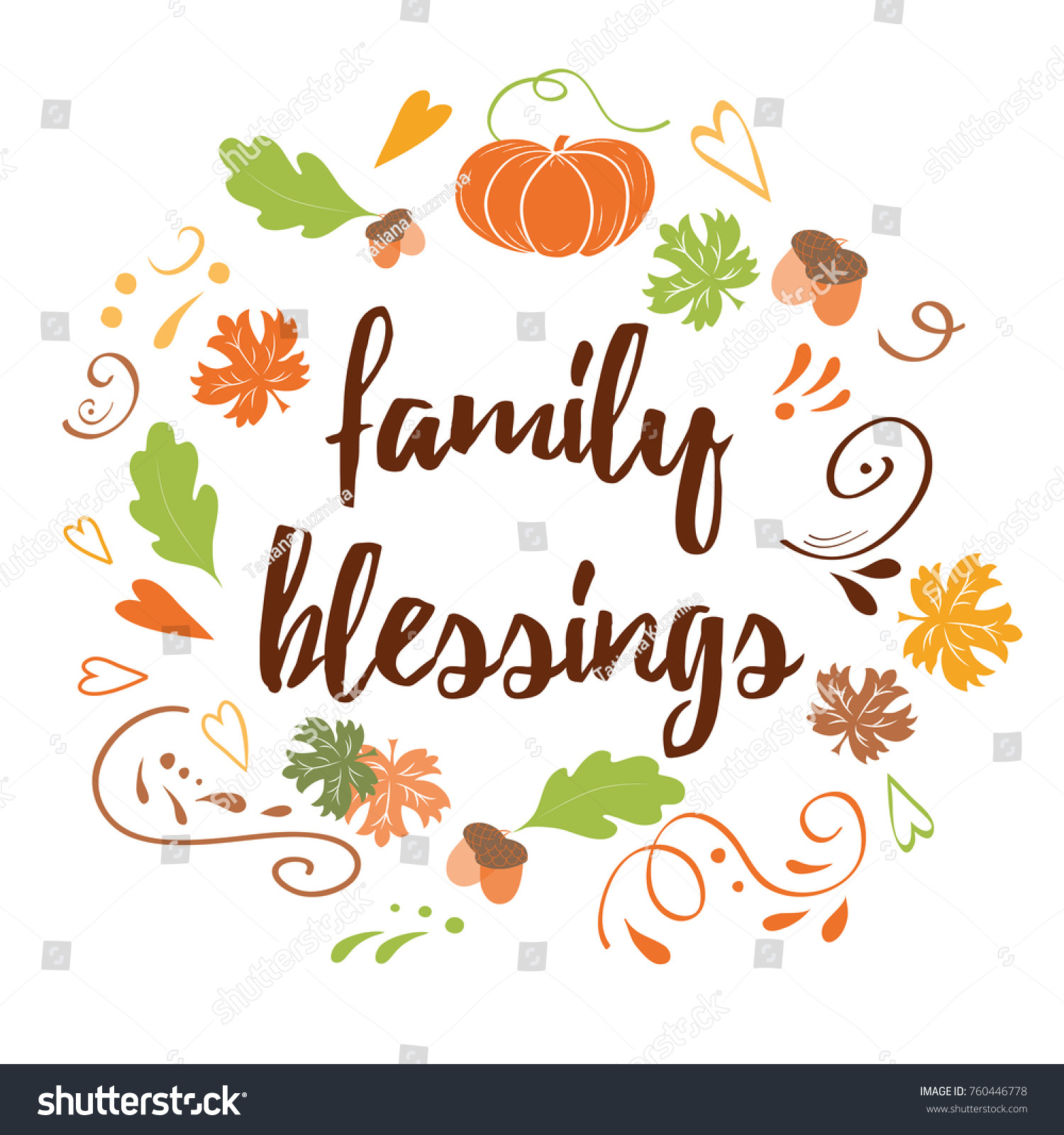 Hand Drawn Thanksgiving Wish Family Blessing Stock Vector Royalty