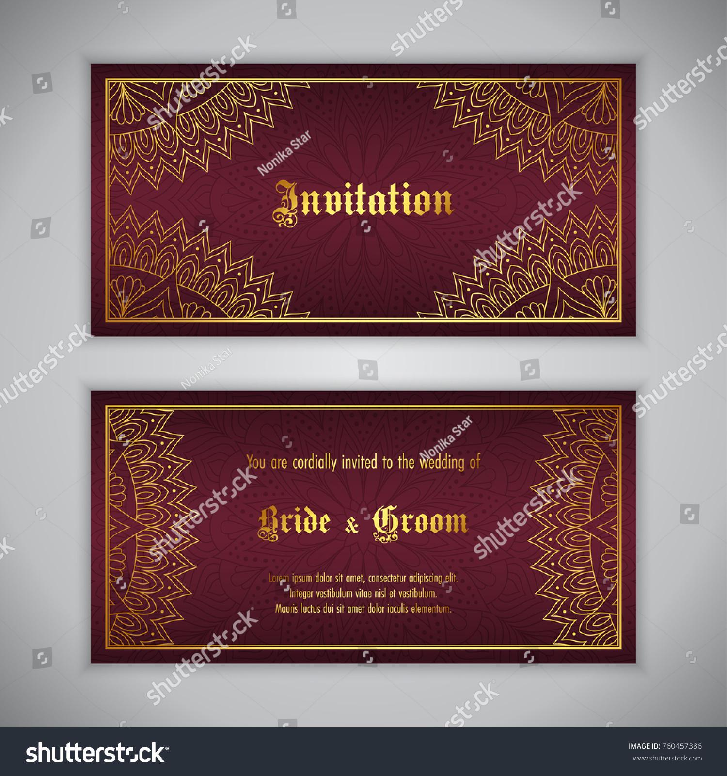 Luxury wedding invitation with golden ornament. Vector illustration ...