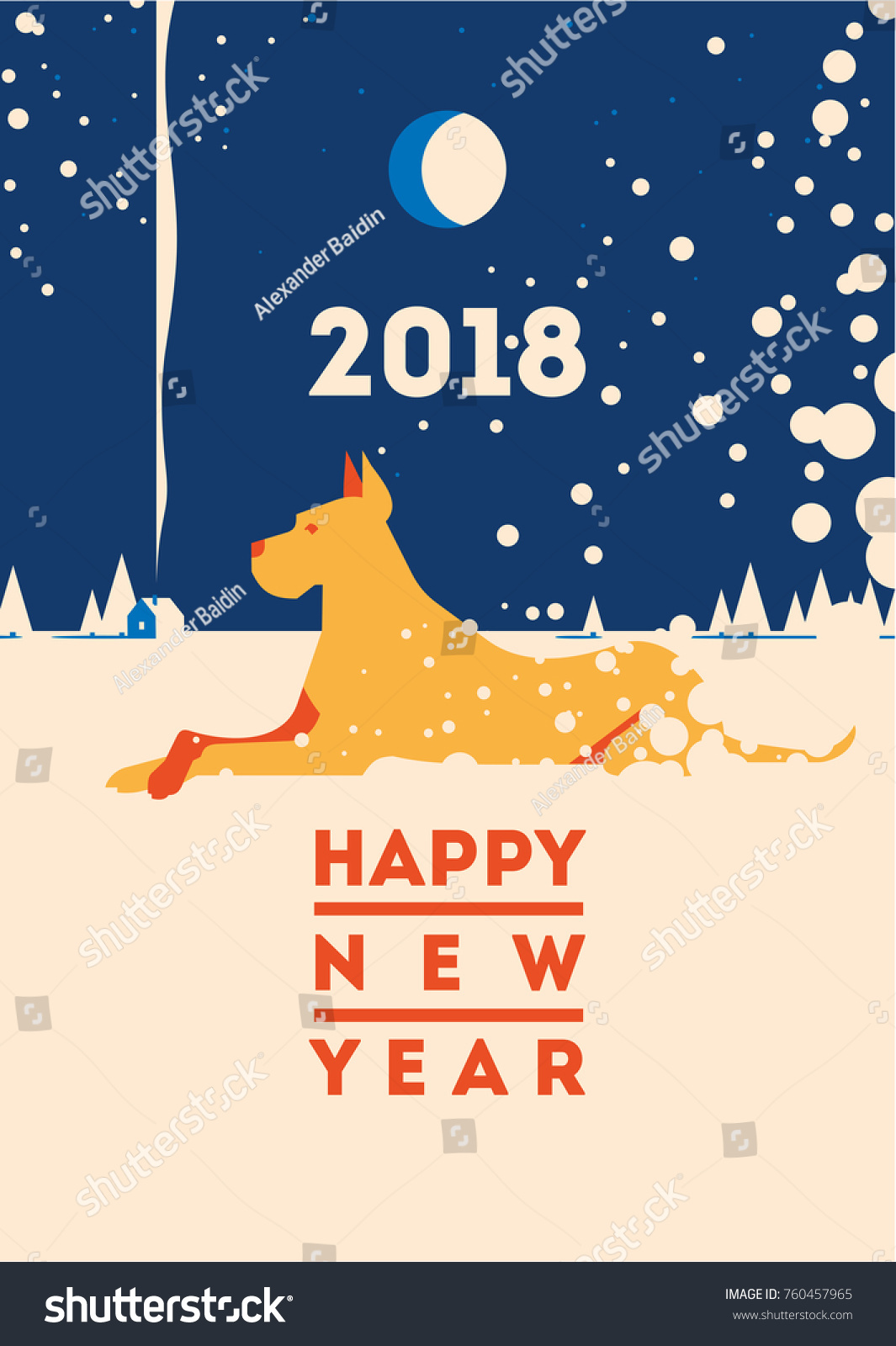 2018 Happy New Year Greeting Card Stock Vector 760457965 Shutterstock