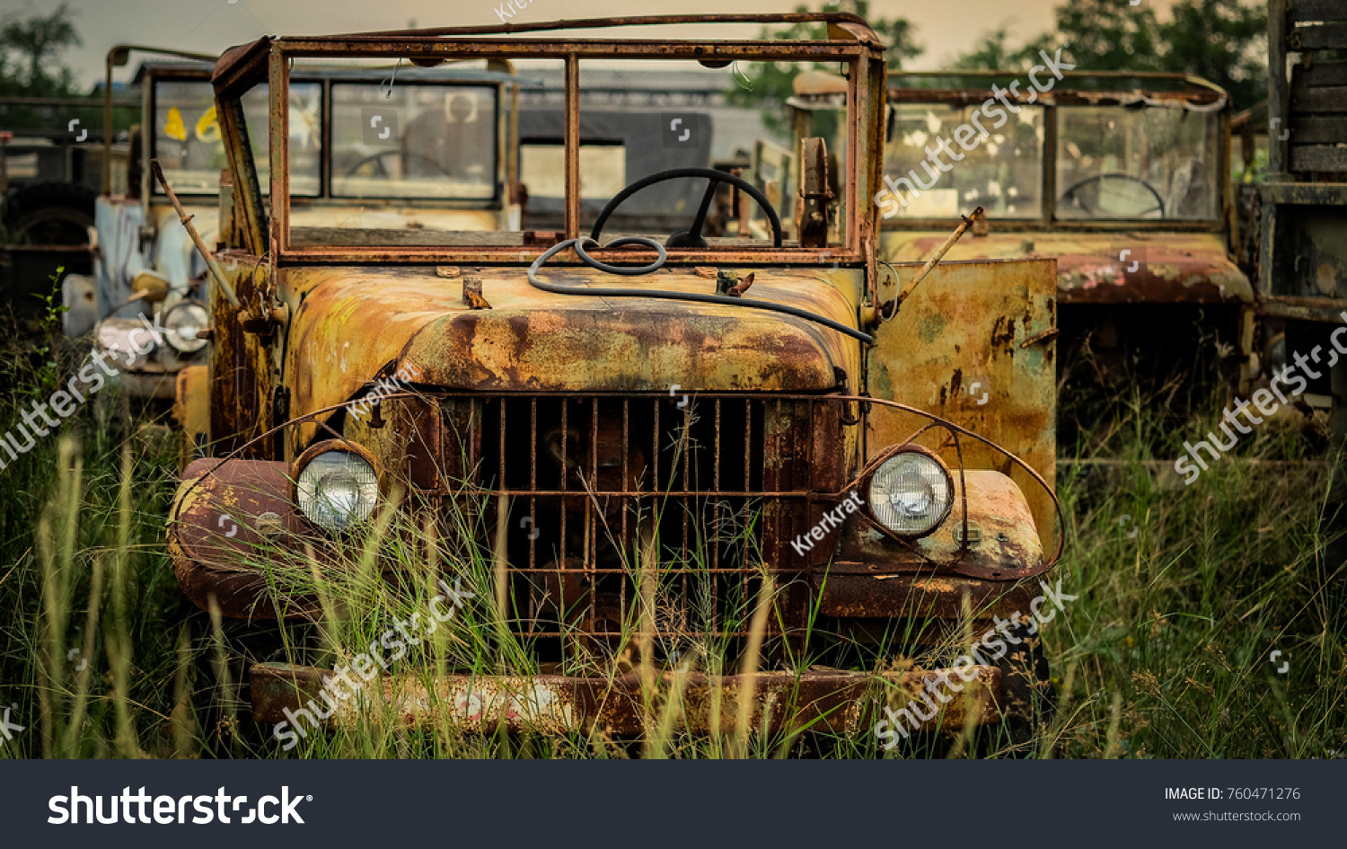 Old Rusty Trucks Junkyard Background Stock Photo & Image (Royalty ...
