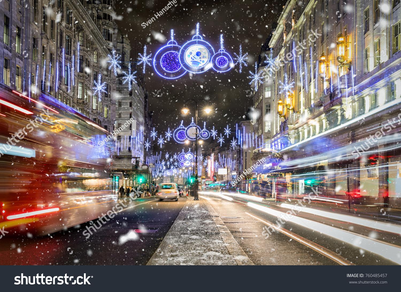 Shopping High Street London Christmas Lights Stock Photo (Edit Now ...