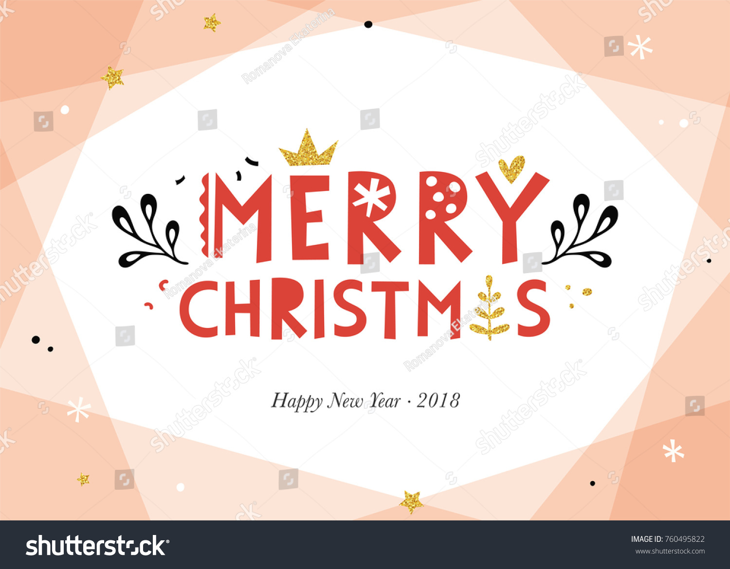 Merry Christmas Happy New Year Background Stock Vector 760495822